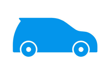 Blue flat sports car icon on white background
