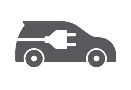 Grey flat icon of electric car isolated on white background