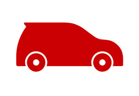 Red flat sports car icon on white background