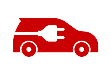 Red flat icon of electric car isolated on white background