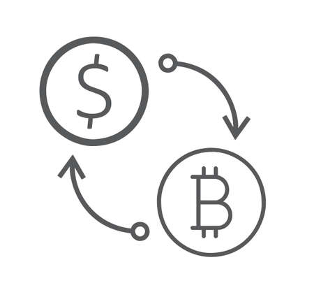 Flat icon of currency exchange dollar to bitcoin isolated on white background