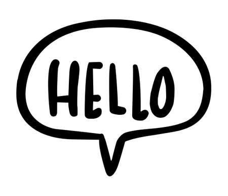 Black flat icon of word Hello in bubble isolated on white background Standard-Bild