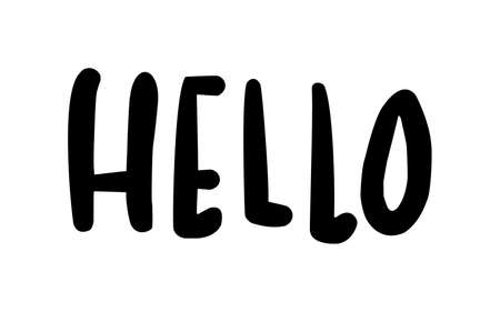 Black flat icon of word Hello isolated on white background Standard-Bild