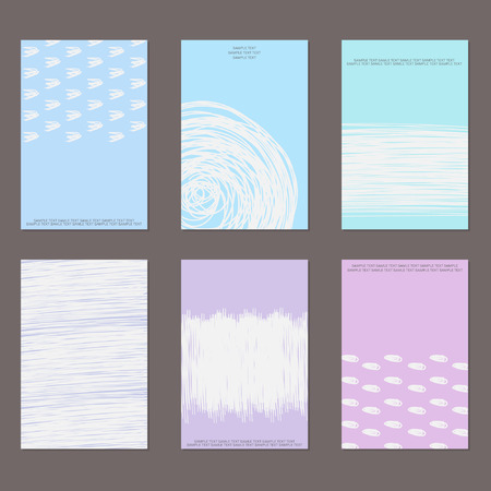 retro patterns: Vector design templates. Set of Vintage Creative Cards with Hand Drawn Hipster Textures Made with Ink. Vector Background. Retro Patterns for Placards, Flyers, Posters and Banner Designs. Illustration