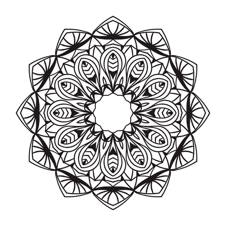 Mandala. Black drawing isolated on white. Design for coloring book page for kids and adults. Patterned Design Element. style Illustration