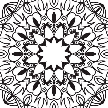 Hermoso Vector Negro Mandala Dibujo Aislado En El Diseño. Diseño ...