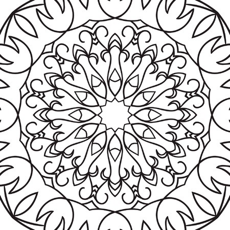 sacramental: Beautiful Vector Mandala. Black drawing isolated on white. Design for coloring book page for kids and adults. Patterned Design Element. Illustration