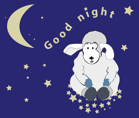 pacification: lovely lamb sits on stars in the night sky, wishes Good night