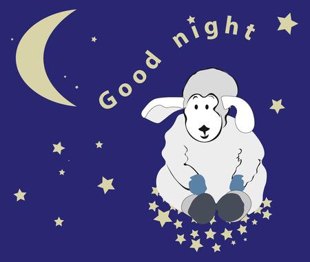 good night: precioso cordero se sienta en las estrellas en el cielo nocturno, deseos Buenas noches