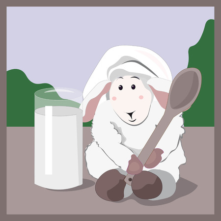 cook cap: lovely white lamb the cook with a wooden spoon in a cook cap and glass of milk