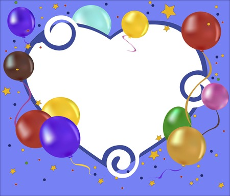 balloons, confetti and stars on a blue background Illustration