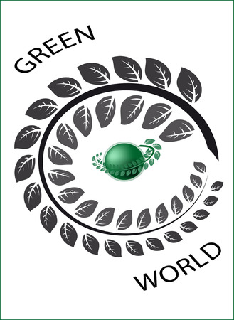 green planet a logo surrounded with a branch with green leaves Illustration