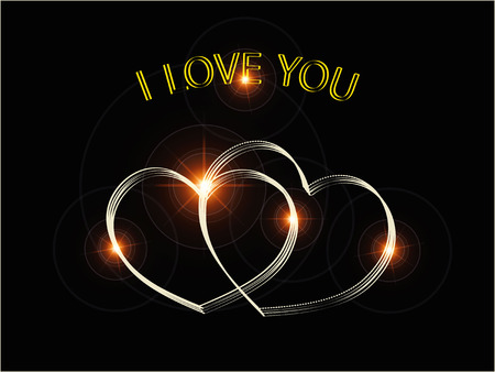 love shape: two gold hearts and inscription I love you Illustration