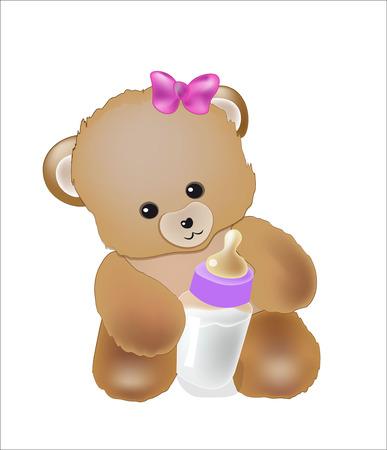 baby bear: Baby Teddi bear with a milk small bottle