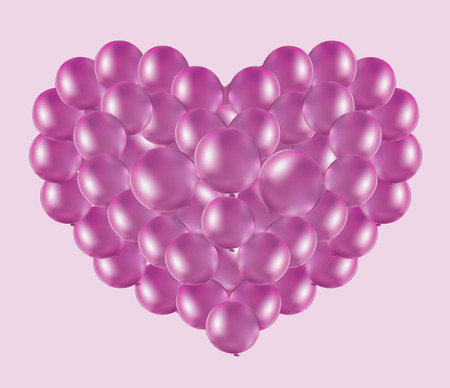 pink sky: balloons pink heart in the pink sky, the Valentines Day card Illustration