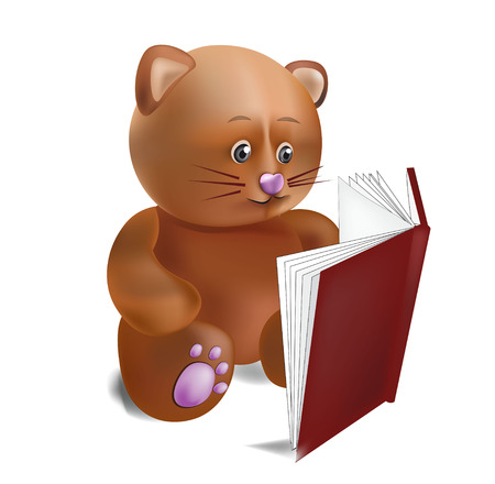 claret: the toy cat sits and reads the book in a claret cover Illustration