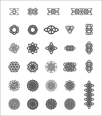 stylization: сeltic stylization abstract frame elements icon object patterns black white Illustration