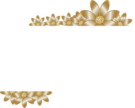 antiquity: Floral background with golden flower for the invitation, business cards Illustration