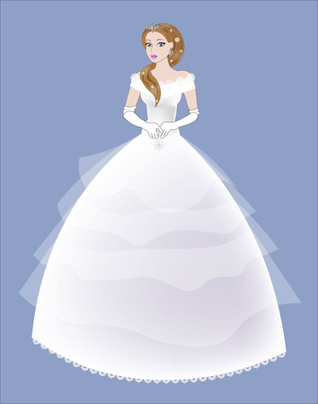 hairdress: young beautiful woman in a white wedding dress