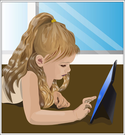 long eyelashes: girl with beautiful long blonde hair playing video game, on the tablet, lies on a floor, near a window Illustration