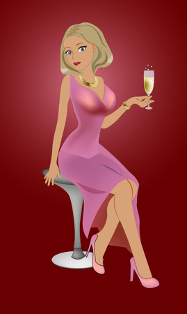 the young woman blond in a pink evening dress sits on a bar stool and drinks sparkling wine Illustration