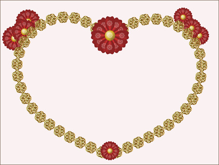 modulations: gold frame from flowers decorated red flowers with silk petals