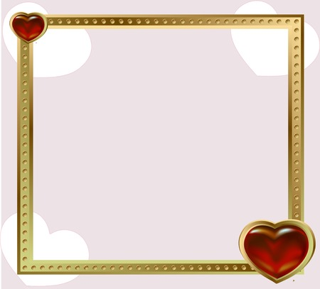 shining: gold shining empty frame with red jewelryhearts