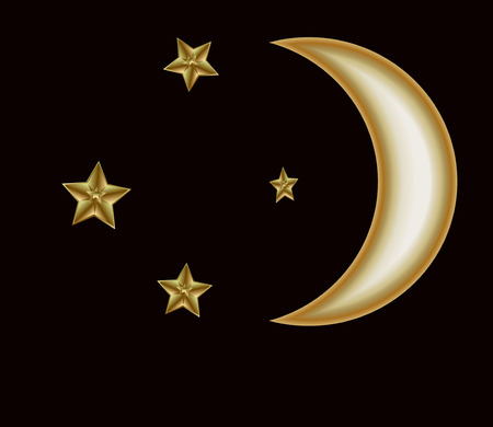 patch of light: golden crescent and stars on the black sky Illustration