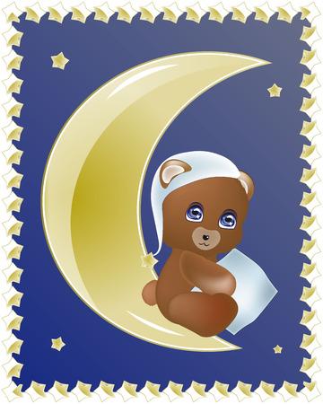 good night: oso encantador Teddie con una almohada se sienta en la luna, desea buenas noches