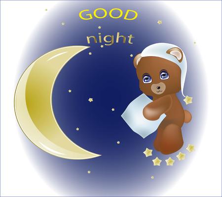 good night: oso encantador Teddie con una almohada alrededor de un mes, desea buenas noches