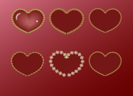 claret: red heart in a gold frame set
