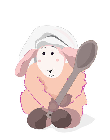 Schöne rosa Lamm den Koch mit einem Holzlöffel in einer Kochschutzkappe Standard-Bild - 43887681