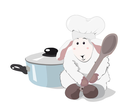 cook cap: lovely white lamb the cook with a wooden spoon in a cook cap and blue pan