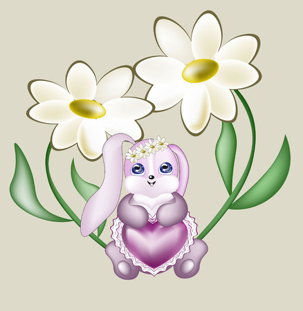 blue eyes: lovely rabbit sits under camomiles, holds pink openwork heart Illustration