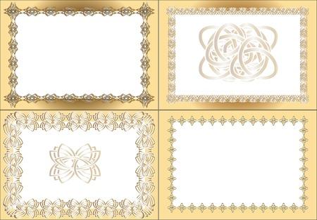 registration: four vintage rectangular frames, gold registration and black white registration