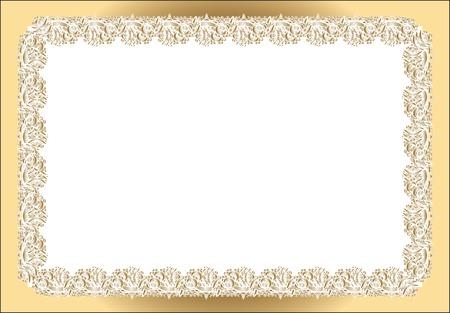 vintage rectangular frame, gold lace pattern registration