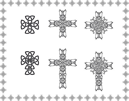 held down: celtic stylization cross abstract frame elements icon object patterns black white