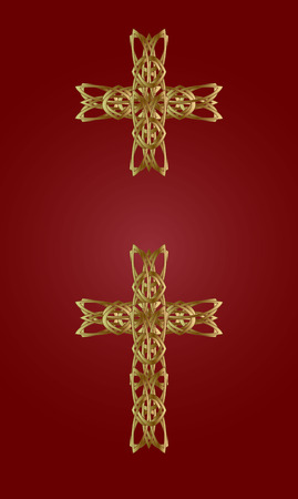 held down: two gold knitted a cross on a red background