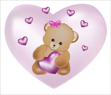pink heart: teddy bear holding a silk pink heart in hand. Valentines Day card. Illustration