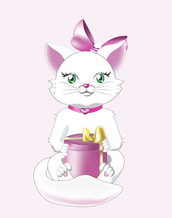 green eyes: white cat with green eyes and a pink gift