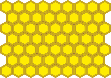 objec: honeycombs with honey, a background of yellow color