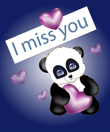 i miss you: teddy bear panda holds silk pink heart in hand. I miss you
