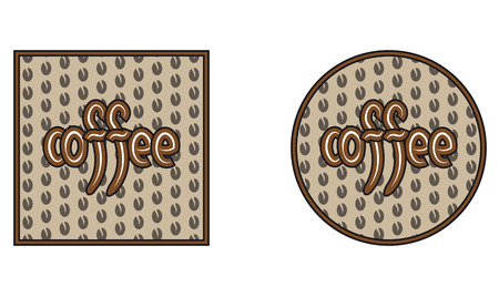 inscription: circle, square with coffee grains and an inscription of coffee Illustration