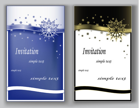 date night: Christmas, winter invitations with snowflakes in blue and black gold color