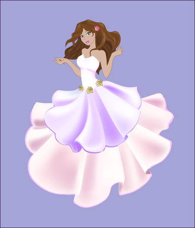white dress: great princess the brunette in a white dress, decorated with golden roses