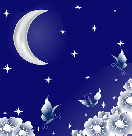 beautiful butterflies, fly over the beautiful flowers exhaling marvelous aroma in a garden, under the night stellar sky and the moon