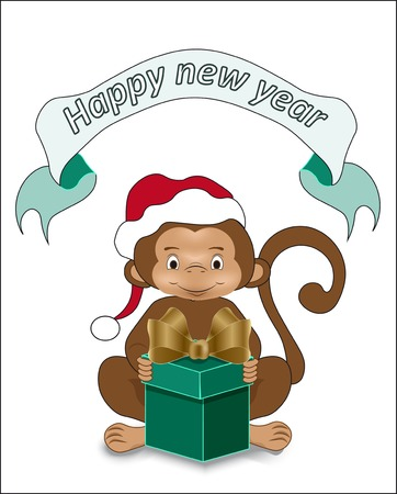 gold bow: the monkey wishes happy new year, holds in hand a green gift with a gold bow