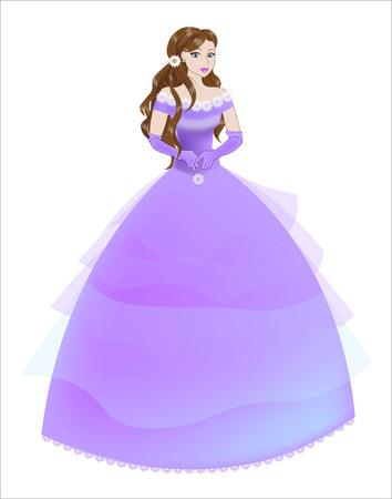 茶髪: the great princess bride  with brown hair in a long purple  dress  イラスト・ベクター素材