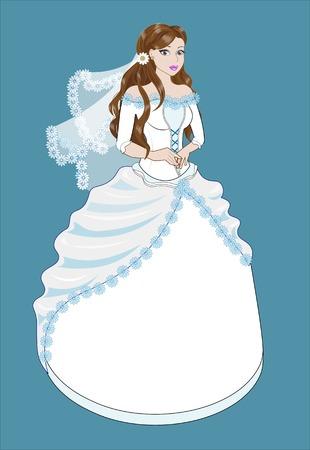 茶髪: the great bride with brown hair in a long white dress