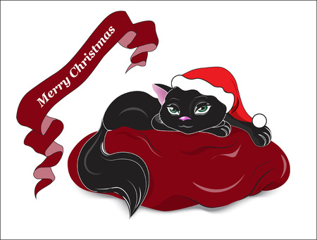 the animated film: the black cat with green eyes, lies on a red pillow wishes Merry Christmas Illustration